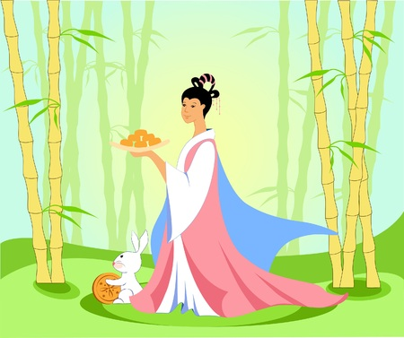 Chinese woman in a bamboo grove with moon cakes in celebration of admiring the moon of mid-autumn