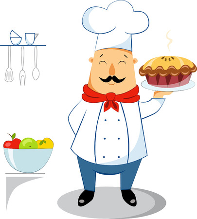 Illustration of a chef with Apple pie in the kitchen
