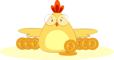 chicken in glasses with a bitcoin coin on white background