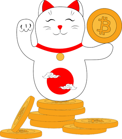 Chinese cat with raised paw on bitcoin coins on white background
