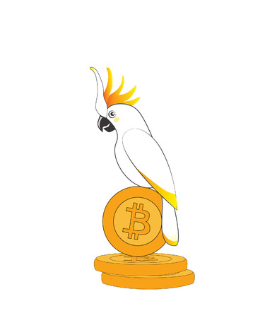 illustration of parrot cockatoo on bitcoin coin on white background