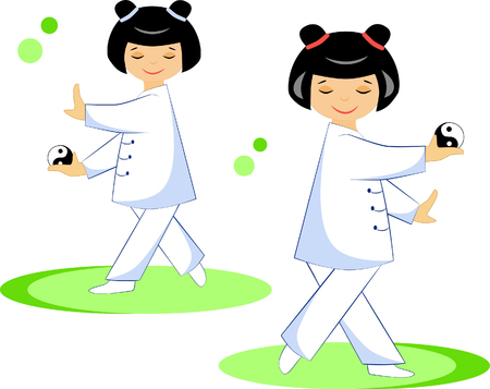 Chinese girls performs exercises qigong