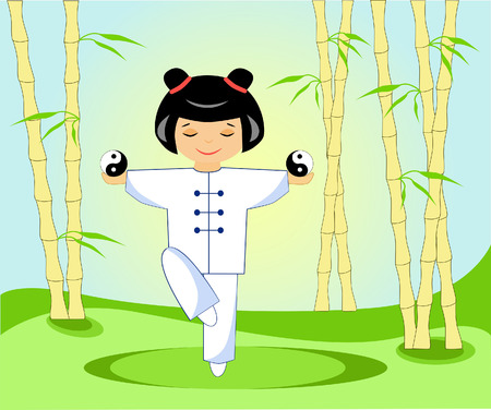 Chinese girl with tai Chi balls in a bamboo grove