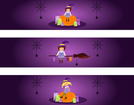 banners with funny little witches on Halloween night Illusztráció
