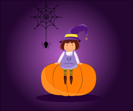 Illustration of a funny little witch in a magic hat on a pumpkin on Halloween night