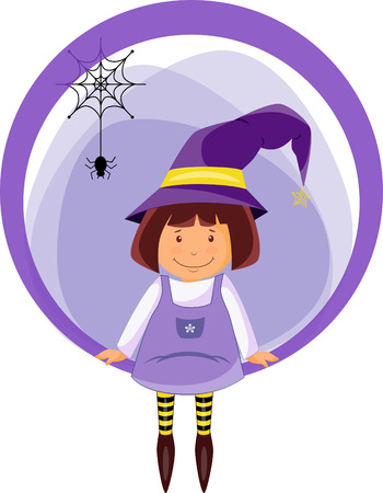 Sticker funny little witch in magic hat with little spider