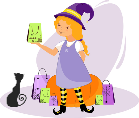 Illustration of a beautiful witch with gifts and a black cat on a holiday halloween near a pumpkin Illusztráció