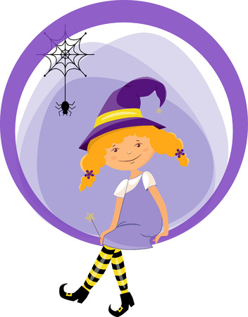 Sticker funny witch in magic hat with little spider and a magic wand for Halloween Holiday