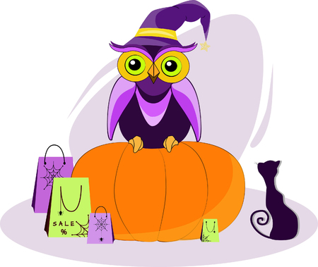 Owl on a pumpkin with a black cat and shopping on the day of sale on Halloween