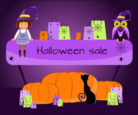 Banner sale for Halloween with a witch, an owl, gifts, a pumpkin and a black cat