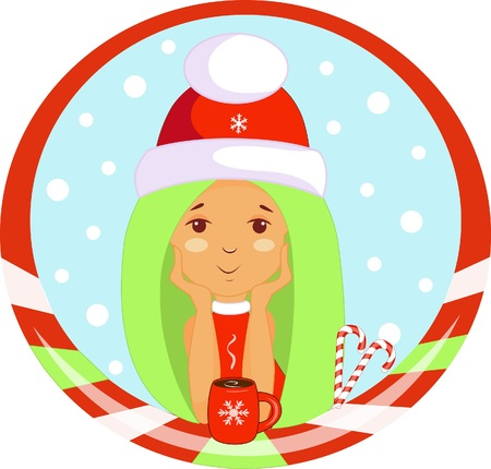 Christmas elf sticker with a cup of hot chocolate and gifts