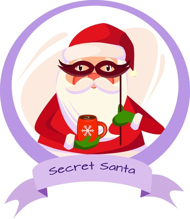 a sticker of secret Santa with a cup of coffee and with a mask