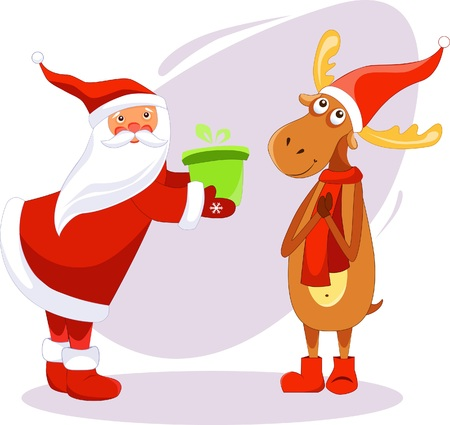 Illustration of Santa Claus gives a gift to a deer