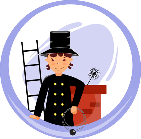 sticker chimney sweep near the chimney with a brush and a ladder