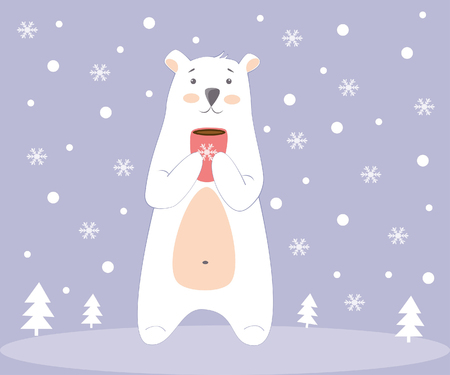 illustration of a polar bear with a cup of hot coffee in the winter forest Illustration