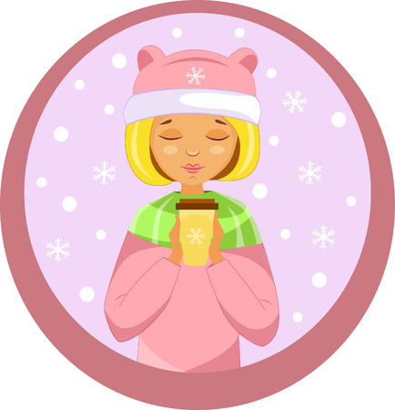 sticker girl with coffee in a pink winter hat in winter