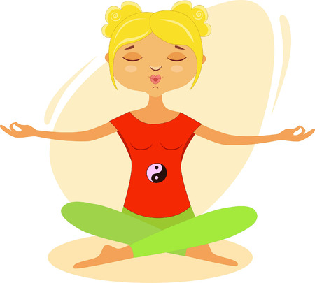 a girl meditates by doing Tai Chi and Qigong exercises