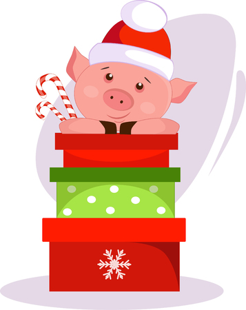 Illustration of a Christmas pig in a red winter hat with gifts and candies Illusztráció