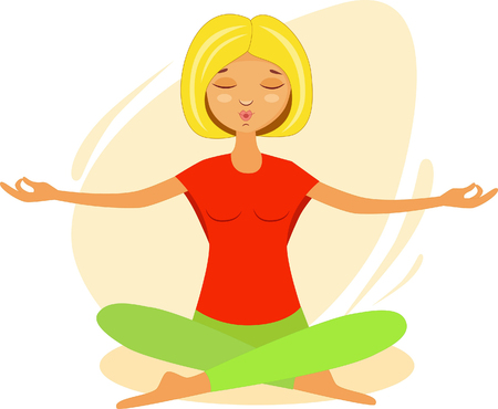 girl meditates in the lotus position by doing yoga exercises