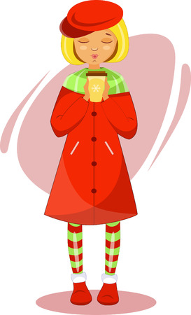 girl with hot coffee in a red coat and red beret