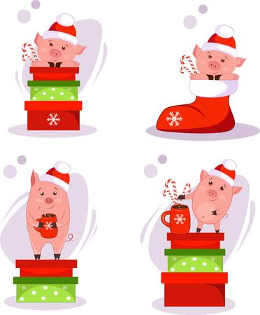 set of christmas pigs with christmas gifts