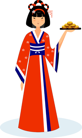 Illustration of a geisha in a red kimono with a cookie dish