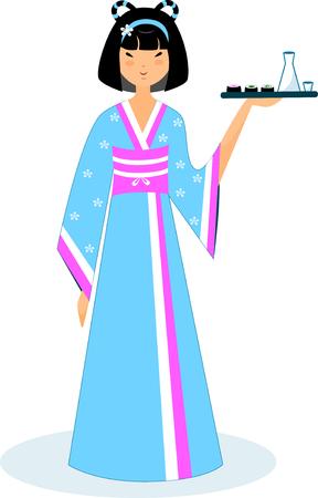 Illustration of a geisha in a blue kimono with sake and sushi Illusztráció