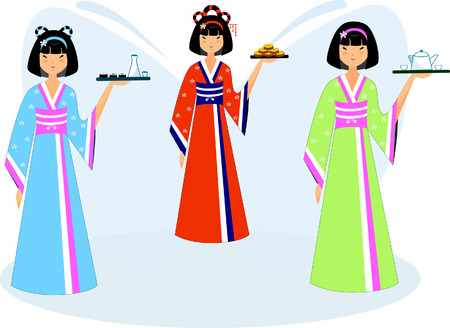 Set of three Asian girls in national costumes with cookies, sake and tea Illusztráció