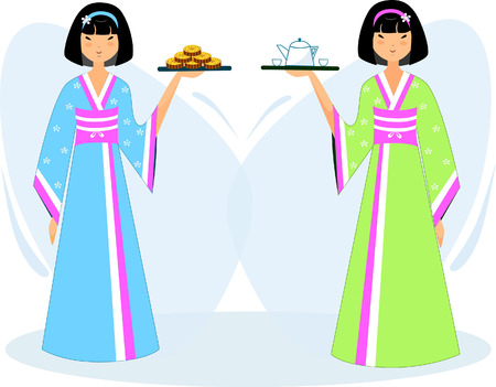 Set of Asian girls in national costumes with cookies and tea Illusztráció