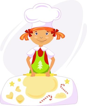 illustration of a girl cook with dough making christmas cookies Illusztráció