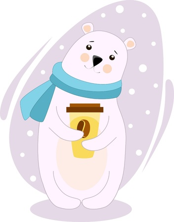 Illustration of a polar bear with a cup of coffee in a warm blue scarf Illusztráció