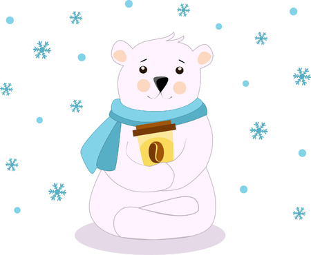 Illustration of a polar bear with a cup of coffee in a blue scarf sitting in the lotus position