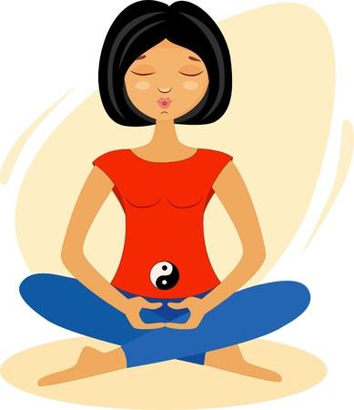 Illustration of a girl in lotus meditation