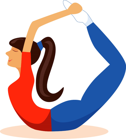 Illustration of a girl in yoga pose