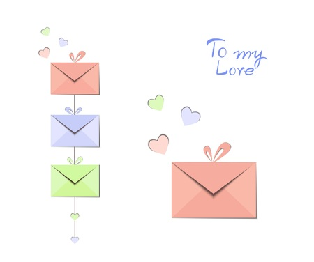 illustration of festive envelopes with a heart for congratulations on Valentines Day or wedding Illusztráció