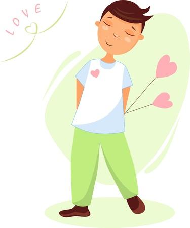 Illustration of a boy in love with hearts Illusztráció