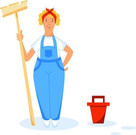 Illustration of a cleaning uniform with a brush and bucket Illusztráció