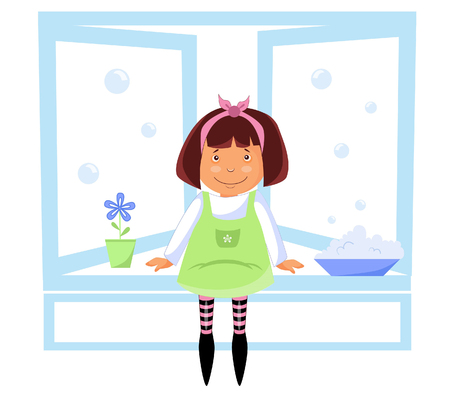 Illustration of a girl hostess while washing windows Illusztráció
