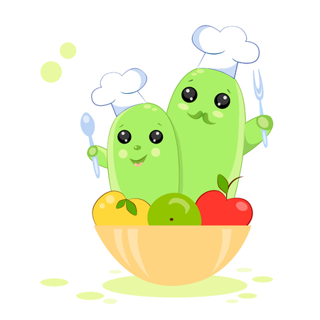 Illustration of cacti cooks in caps in a funny kawaii style in a bowl of fruit