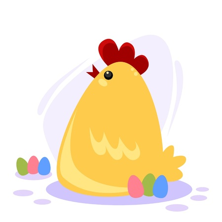 Vector illustration of a cute chicken with easter eggs Ilustração