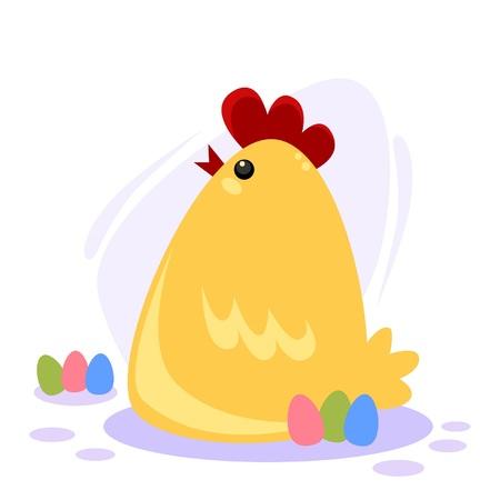 Vector illustration of a cute chicken with easter eggs Illusztráció