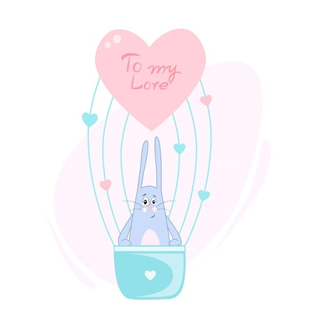 Vector illustration of a funny bunny flying through the sky in a love balloon