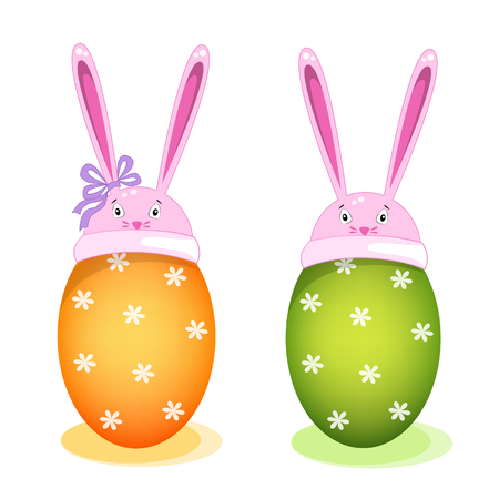 Vector illustration of Easter eggs in rabbit hats congratulating on Easter Day