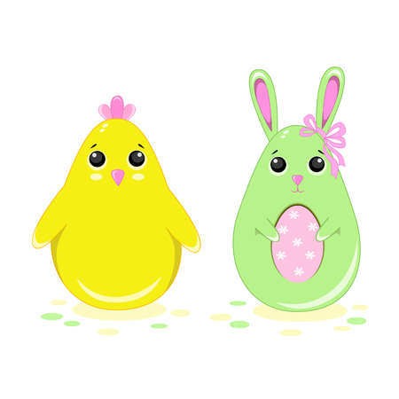 Vector illustration of easter bunny and chicken in kawaii style