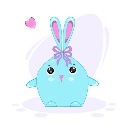 Vector illustration of rabbit in funny style Kawaii Ilustração