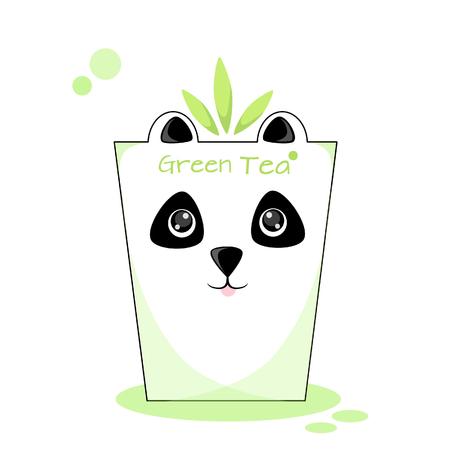 Vector illustration of a glass of green tea Panda