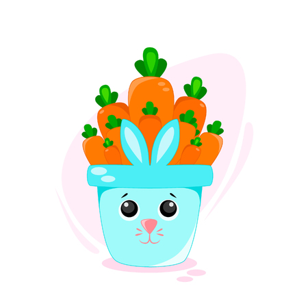Vector illustration Flower pot with carrot, rabbit in funny style Kawaii