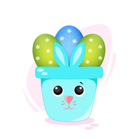 Vector illustration of a rabbit with Easter eggs Ilustração