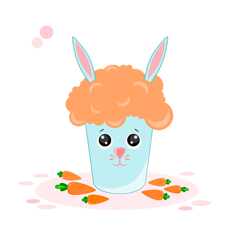 Vector illustration of a carrot cocktail, a glass of rabbit in banned style Kawaii
