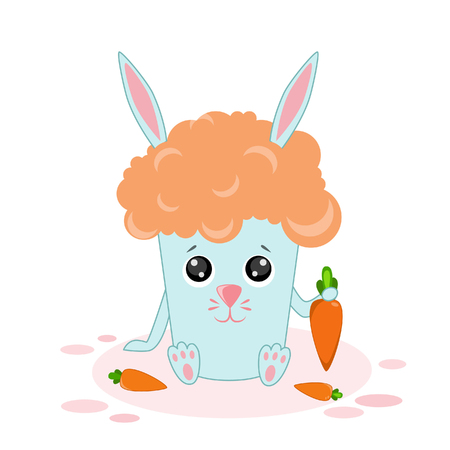 Vector illustration of carrot juice, rabbit with a carrot in banned style Kawaii